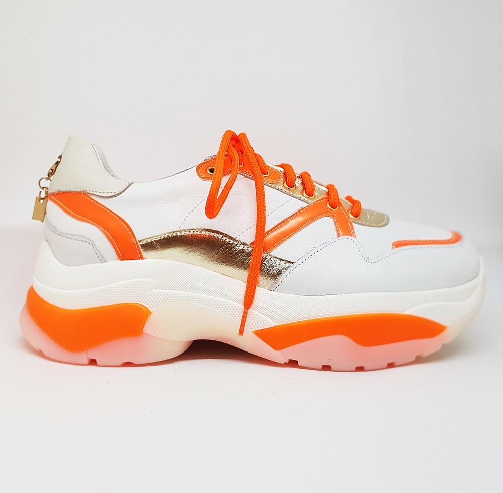 Novedad Sneakers blancas arancio