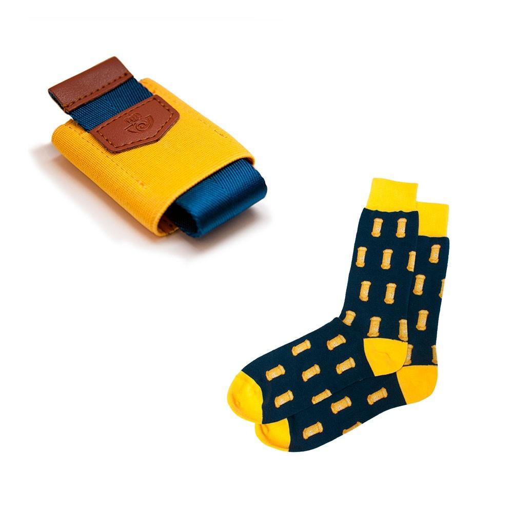 Pack calcetines y cartera amarilla Correos