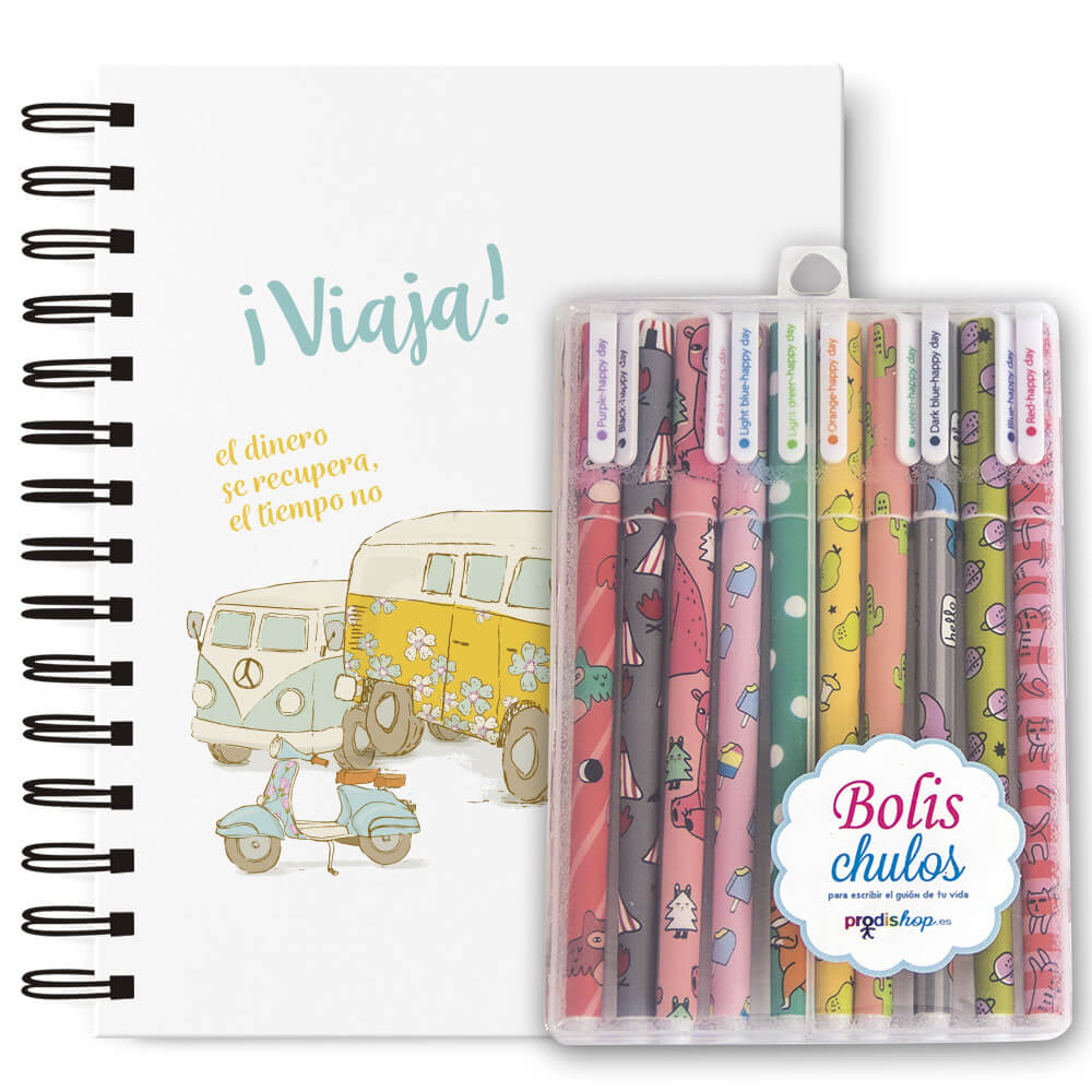Pack bolígrafos + cuaderno A5 furgoneta Prodis