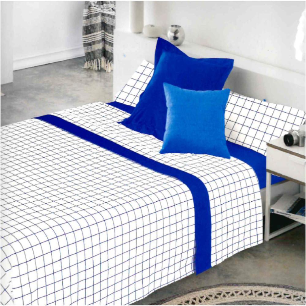 Juego de sábanas CUADROS AZUL cama de 200