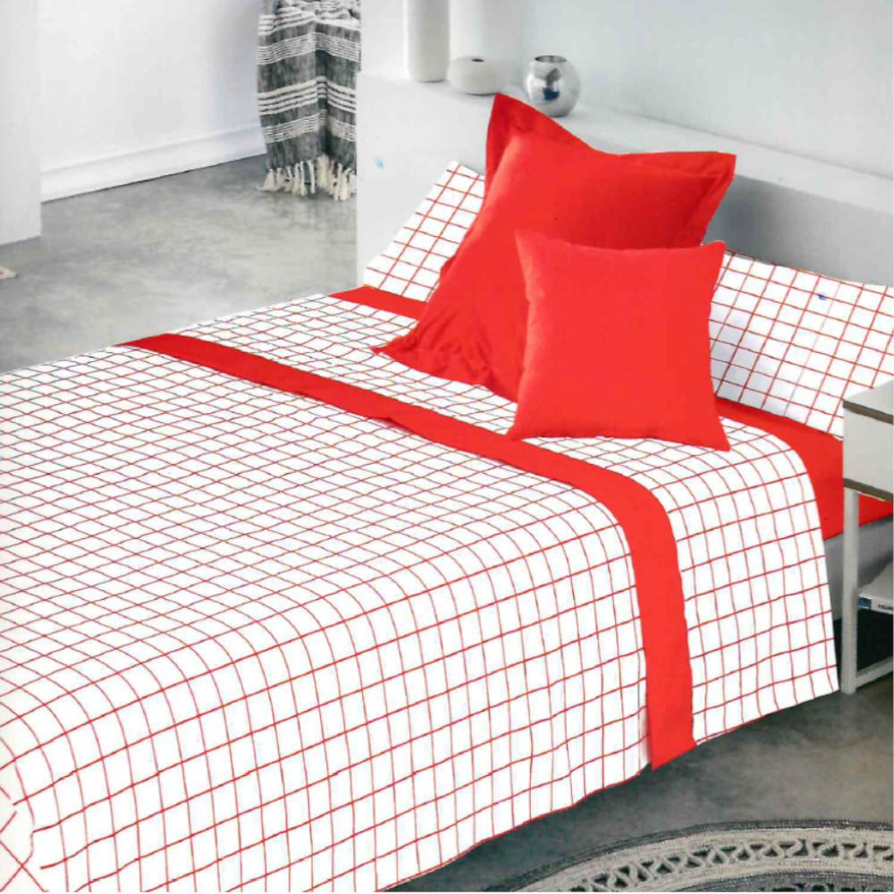 Juego de sábanas CUADROS ROJO cama de 200