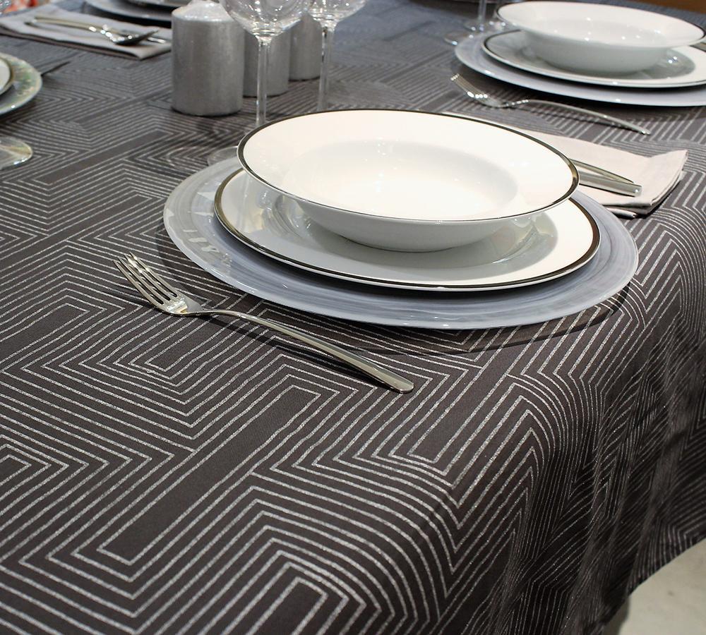 Mantelería rectangular ART DECO GRIS OSCURO 150 X 250