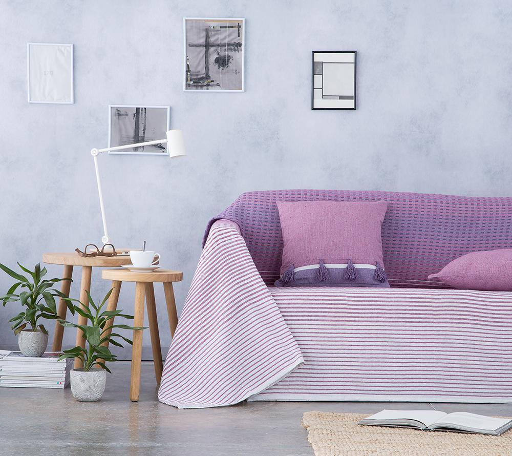 Cubre sofá foulard multiusos STRIPES MORADO (180 x 260 cm)