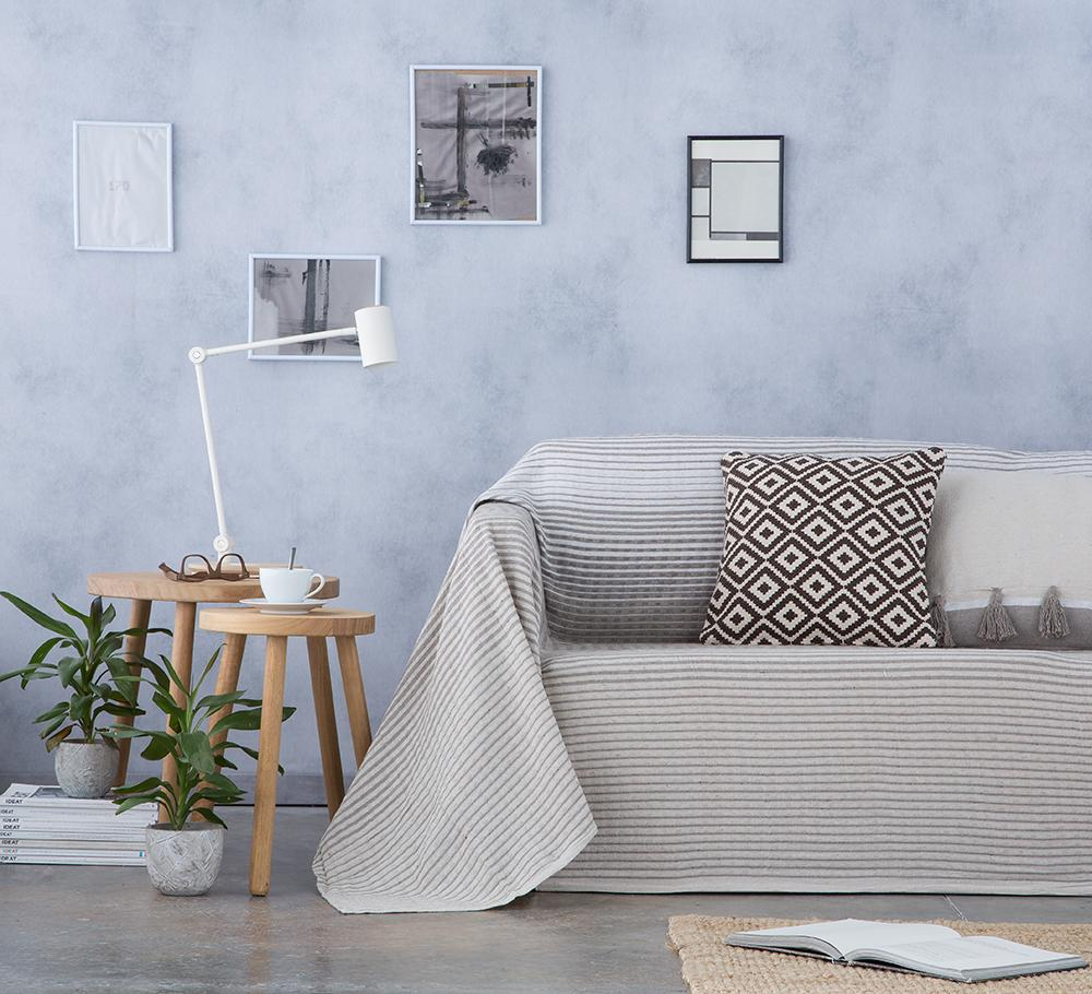 Cubre sofá foulard multiusos STRIPES BEIGE NATURAL (180 x 260 cm)