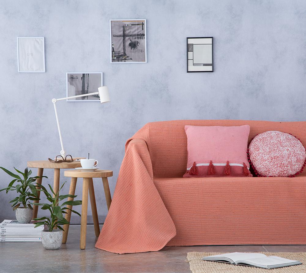 Cubre sofá foulard multiusos BAMBU NARANJA (180 x 260 cm)