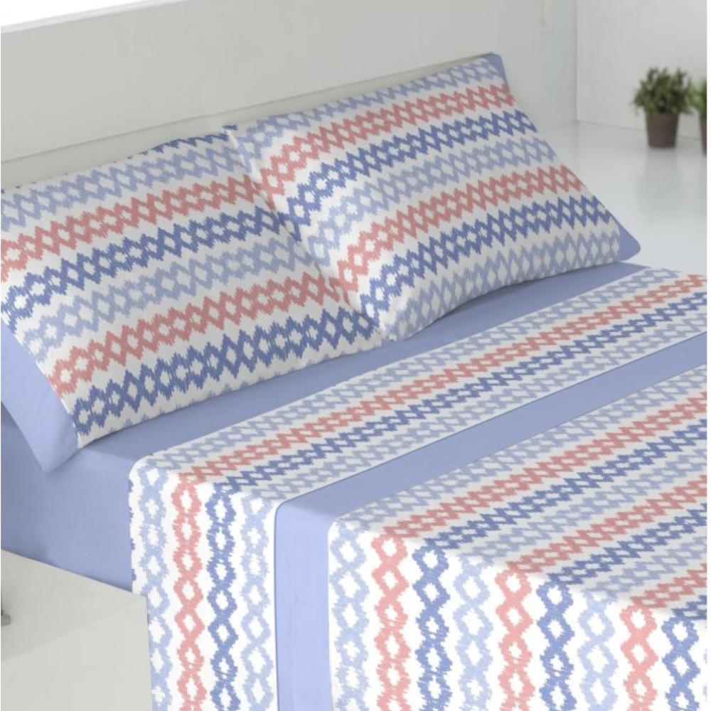 Juego de sábanas de invierno tejido CORALINA. SENA AZUL cama de 150