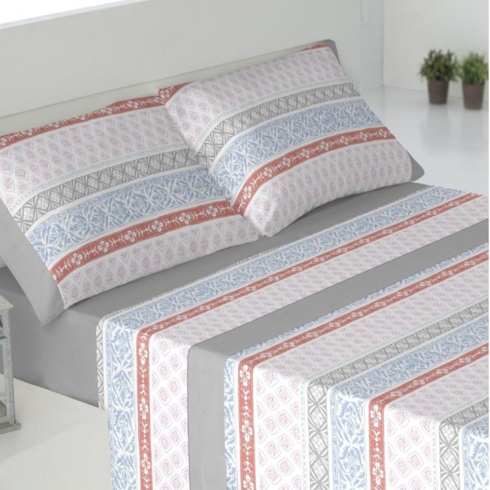 Juego de sábanas de invierno tejido CORALINA. DRAVA GRIS cama de 180