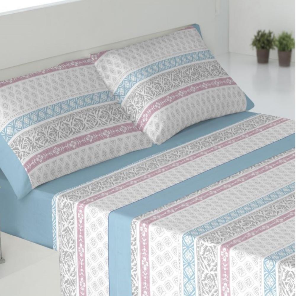 Juego de sábanas de invierno tejido CORALINA. DRAVA AZUL cama de 150