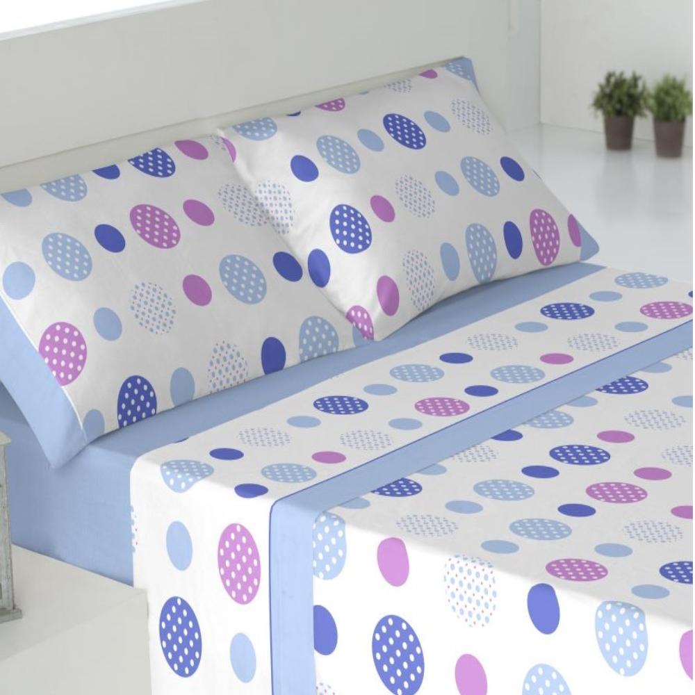 Juego de sábanas de invierno tejido CORALINA. SAVA AZUL cama de 180
