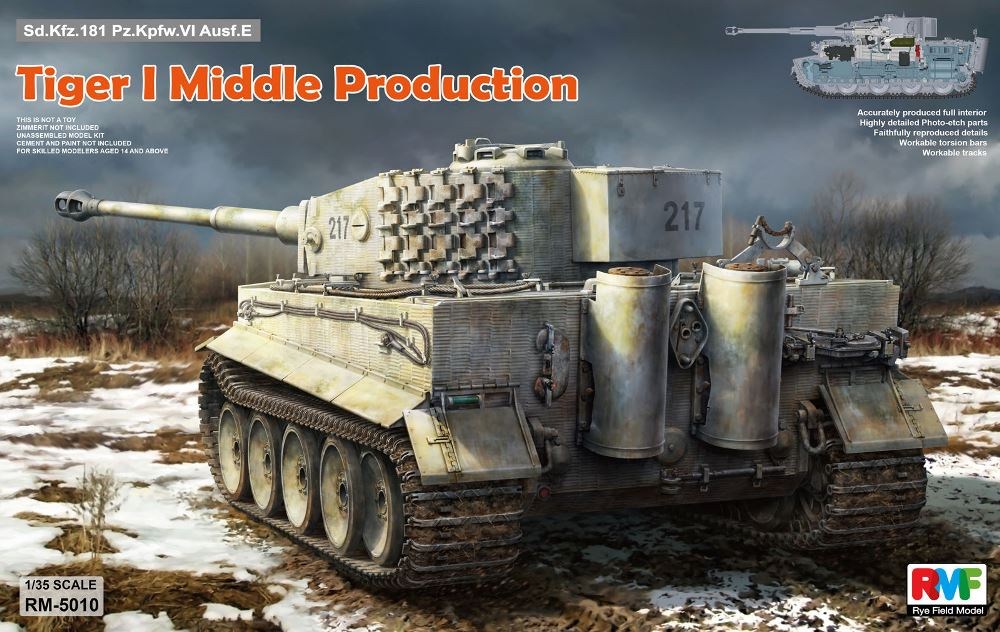 RYE FIELD MODELS 5010 German Pz.Kpfw.VI Ausf.E Tiger I 'Middle Production' (with Full Interior)