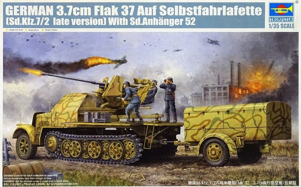 TRUMPETER 01526 German Sd.Kfz.7/2 3,7 cm Flakvierling 37 (Late Version)