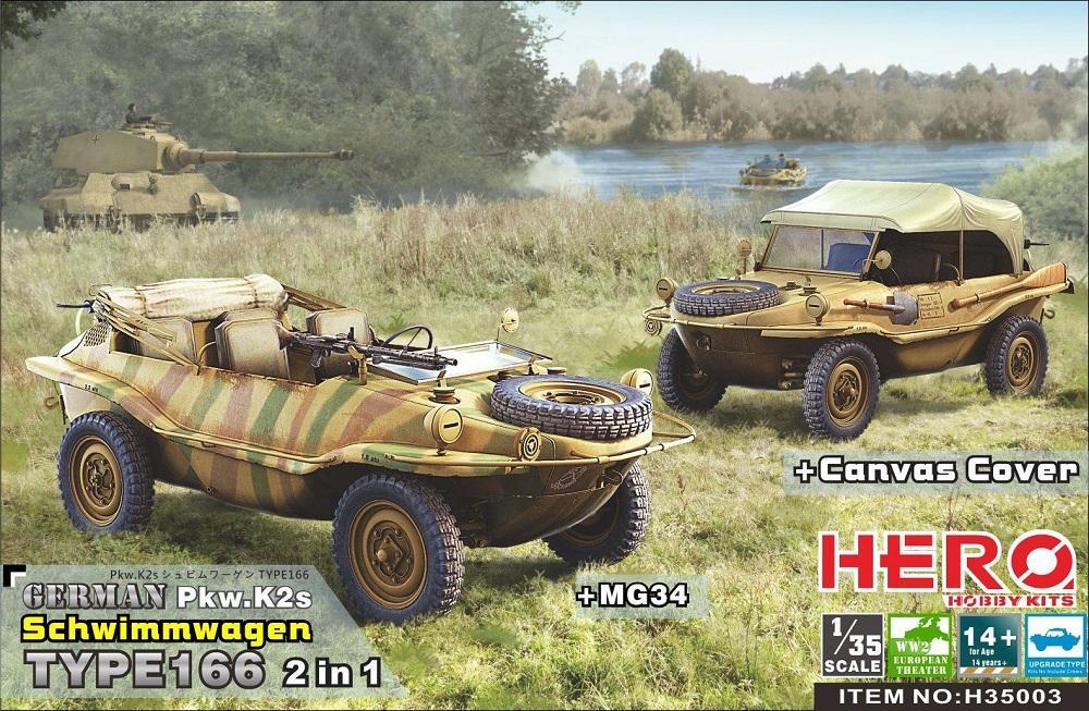HERO HOBBY KITS H35003 German PKW.K2s Schimmwagen Type 166 (with Canvas & MG34)