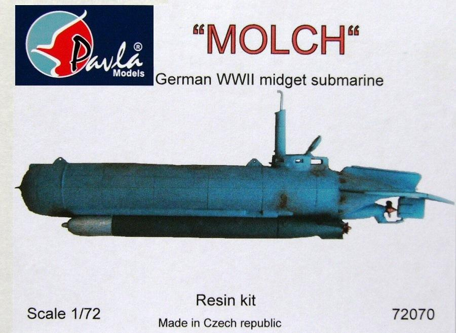 PAVLA MODELS 72070 German Midget Submarine 'Molch' (Resin)