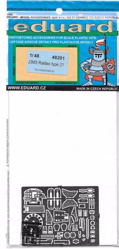 EDUARD 48201 Set for J2M3 Raiden Type 21 (Hasegawa)