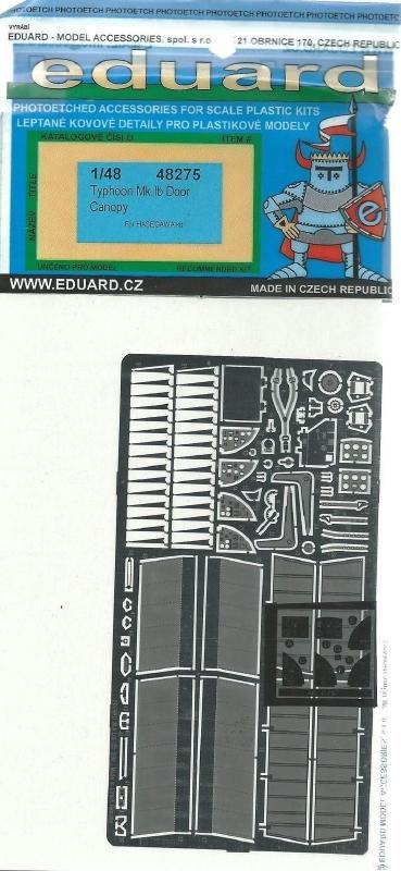 EDUARD 48275 Set for Typhoon Mk.Ib Door Canopy