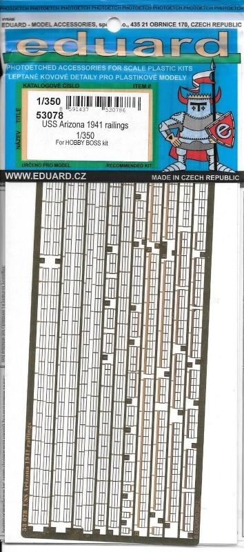 EDUARD 53078 Set for U.S.S. Arizona 1941 Railings (HobbyBoss)