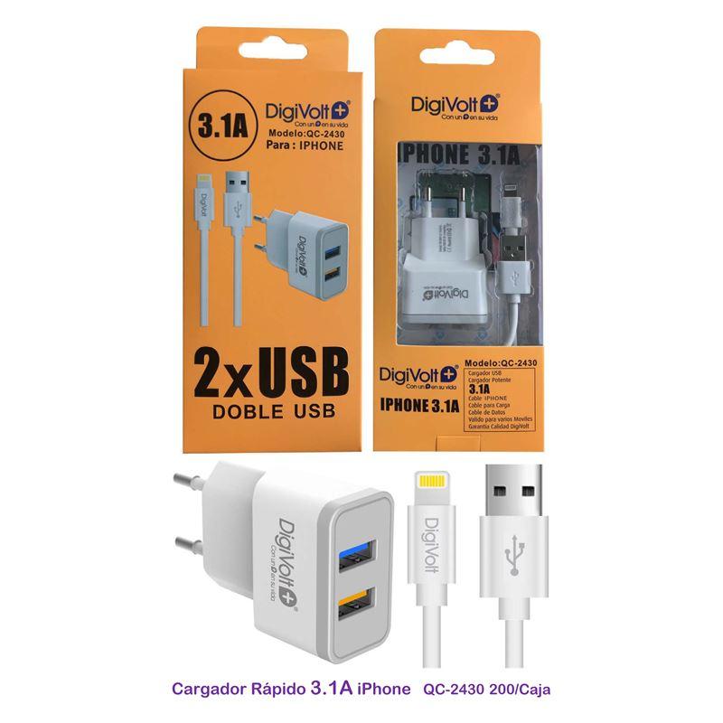 DIGIVOLT CARGADOR 3.1A QC-2430 2 USB CABLE LIGHTNING