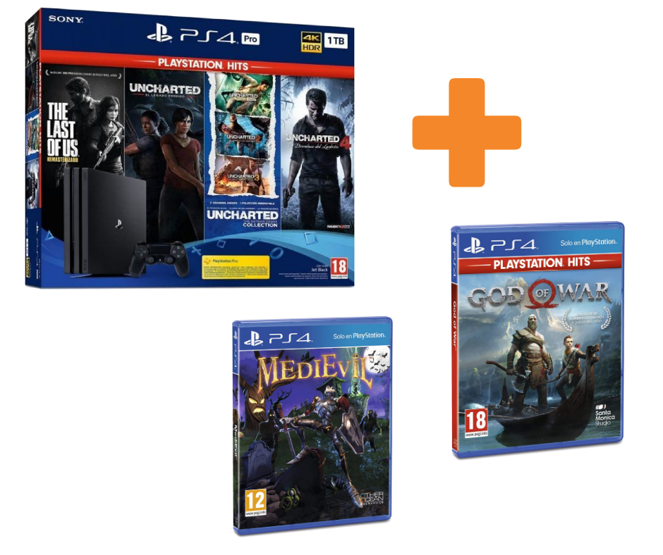 SONY CONSOLA PS4 PRO 1TB PACK UNCHARTED + TLOU+MEDIEVIL + GOD OF WAR