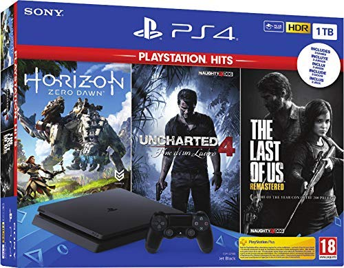 SONY Consola Playstation 4 1TB + Horizon Zero Dawn + Uncharted 4 + The Last of Us