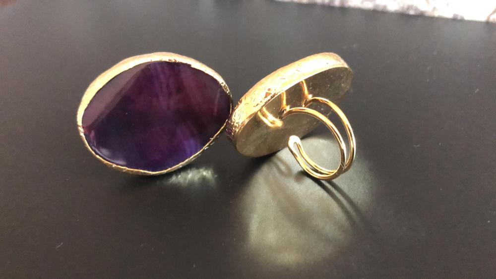 Purple Big Stone Ring