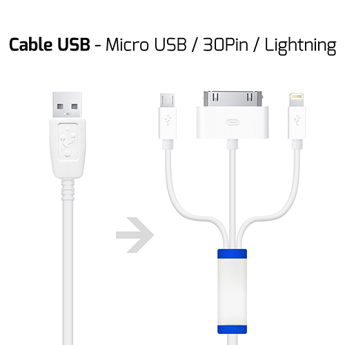 UNOTEC Cable Tri-Charge para iPhone