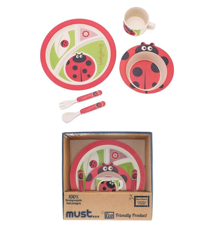 Breakfast set 3 pieces bamboo biodegradable Elephant