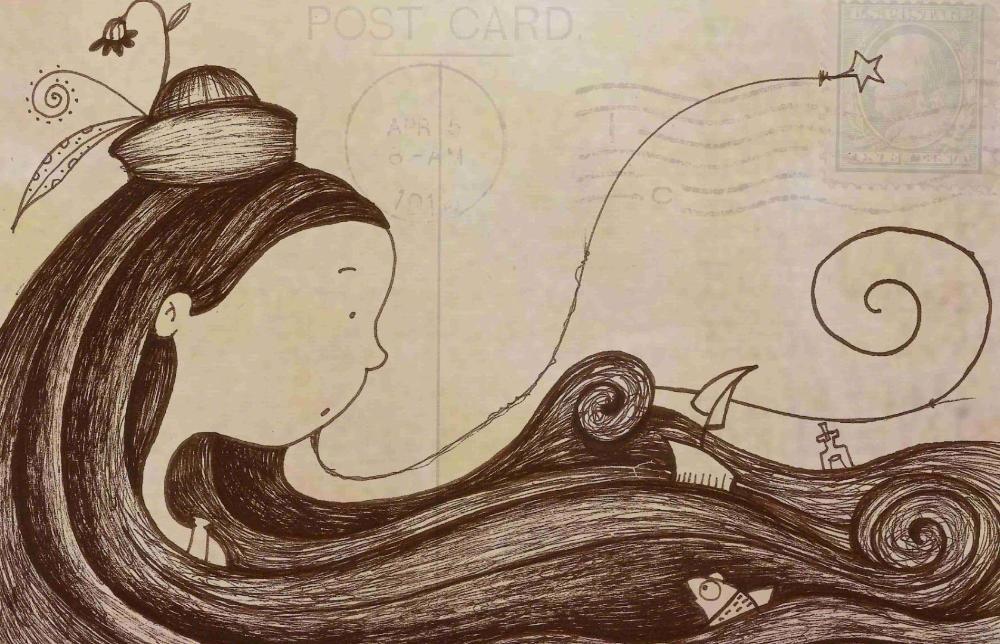 Los Mundos de Laura Mendoza Postal Laura y el Mar