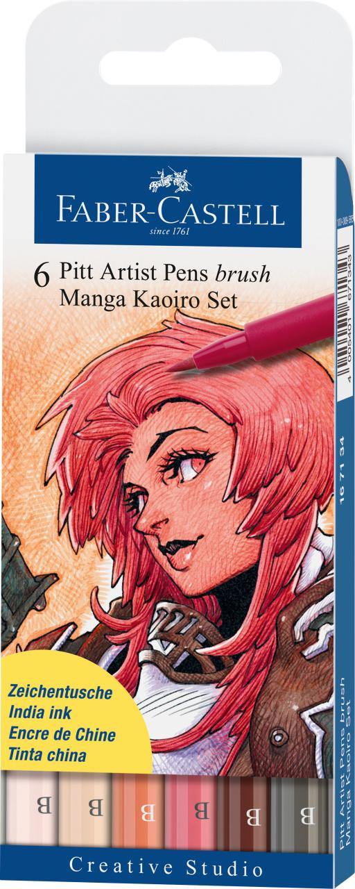 Faber-Castell 6 Pitt Artist Pens Brush Manga Kaoiro Set