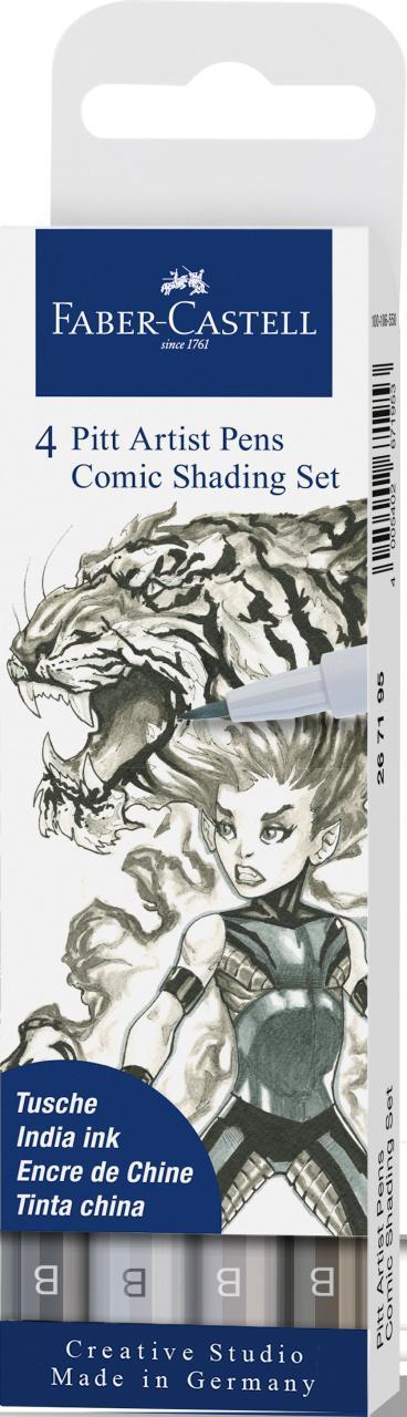 Faber-Castell 4 Pitt Artist Pens Comic Shading Set
