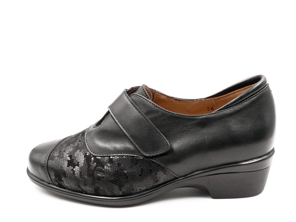 PIESANTO Zapato piel Abotinado negro, plantilla extraible - 185615 - 152