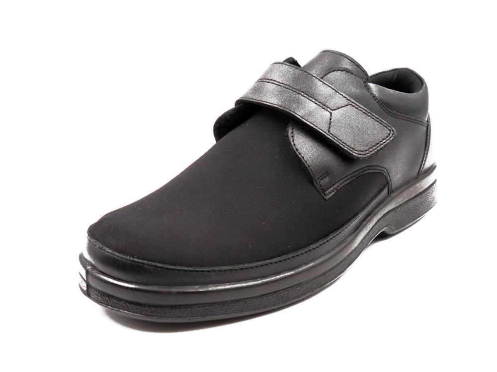 CALZAMEDI Zapato hombre pala elástica, horma 14, piel negra, p.extraible - 20625-1