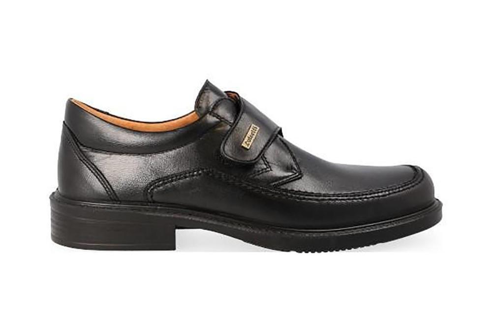 LUISETTI Zapatos hombre velcro, piel cordero negro - 0108-26