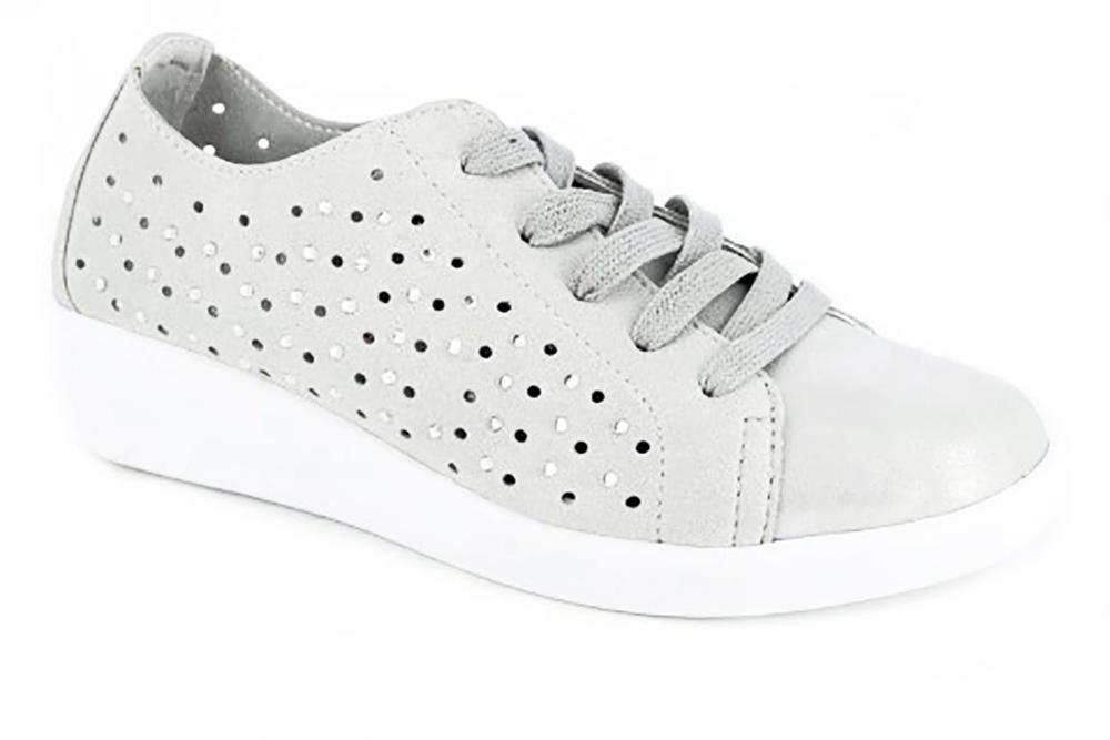 DOCTOR CUTILLAS Zapato mujer tipo deportivo, piel perforada, color plata -  38451-369