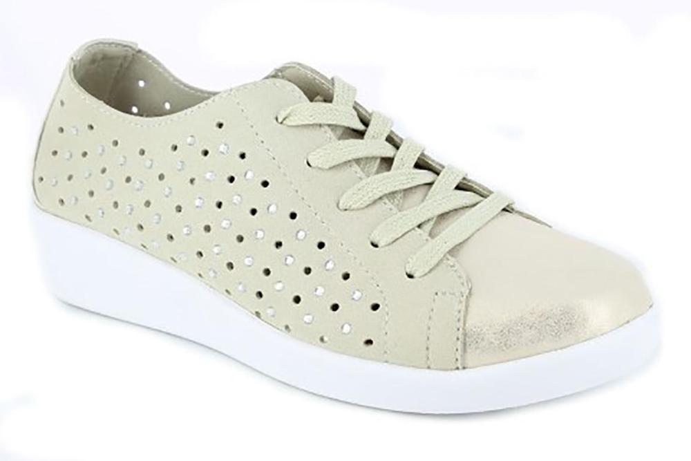 DOCTOR CUTILLAS Zapato mujer tipo deportivo, piel perforada, color platino - 38451-370